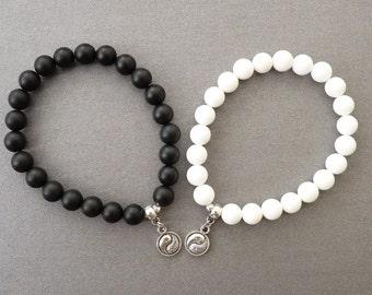 Yin Yang Bracelet set Black White Bracelets couple Gift for Couple Bracelet for Her and Him Couples set Black White Jewelry Yin Yang Jewelry