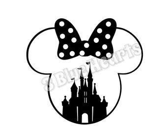 Castle Minnie Head SVG dxf pdf Studio, Castle in Minnie Head, Minnie Head svg dxf pdf Studio, Minnie Head, Disney SVG dxf pdf Studio, Disney