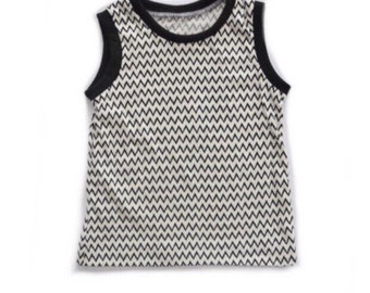 Monochrome Gender Neutral Tank Top - Baby Kid Toddler  Sleeveless Shirt - Tank Top