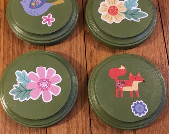 Set of four circular hand painted coasters!