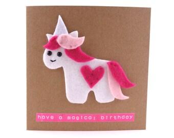 Have a magical birthday, cute felt unicorn card, fantasy birthday card