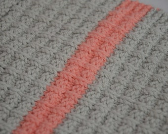 Hand Knit Washcloth (Gray with Pink Stripe)