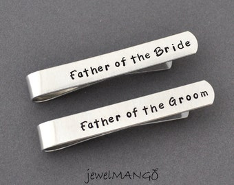 Wedding gifts, 2 Tie Clip for father of the groom, father of the bride,  Personalized metal Tie Clip, custom Tie Clip, hand stamped Tie clip