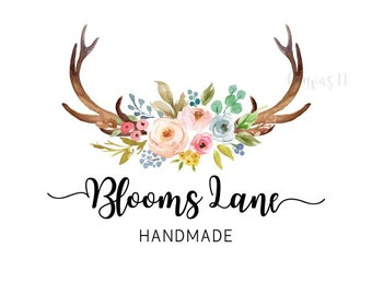 Premade Logo Rustic Antlers Floral Peonies Watercolor Flowers Branding Business Shower Signs Etsy Shop Sign