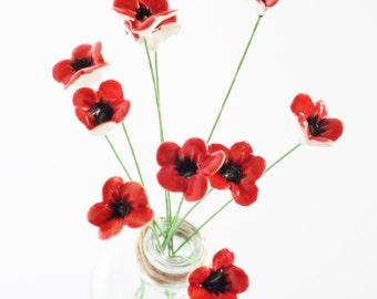 Ceramic flowers - 10  handmade teeny tiny baby poppy pottery clay flowers