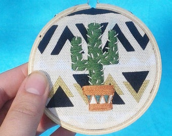 Cactus Hand Embroidery Hoop- Wall Art (3 inch)- Original/Ready to Ship