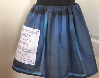 Ladies Doctor Who TARDIS inspired skater style skirt