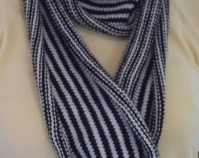 Scarf - Hand Knitted Long Scarf in Black & White Stripes