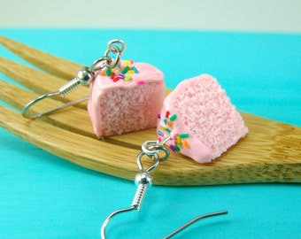Pink Cake Earrings // Strawberry Cake with Rainbow Sprinkles // MADE TO ORDER // Food Jewelry