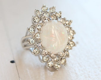Vintage Genuine Opal Ring Clear Swarovski Crystals 18k White Gold Electroplated Silver Tone Made in USA #R173