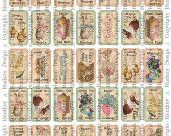 Victorian Vintage Easter Shabby Pink Tickets Digital Collage sheet Printable