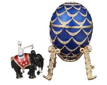 Russian Faberge Style Egg / Trinket Jewel Box Pinecone with Elephant 8.5 cm (3.4'') blue
