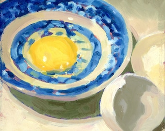 Egg on Blue Willow dish