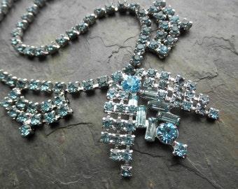 Vintage Choker, Ice Glacier Blue Rhinestone Necklace, Formal Choker, Wedding, Prom, Formal Sparkly Collar Necklace