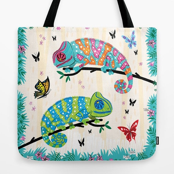 """Seeing Spots - Childrens Tote Bag - Book Bag -  Record bag - Chameleons and Butterflies - animal /nature / wildlife - art bag - 18"""" x 18"""""""