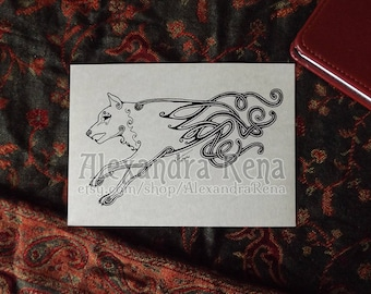 Celtic Knotwork Wolf Art Print - 5x7