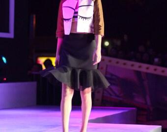 Fine Art Collection I close my eyes short jacket/black mermaid shaped short skirt