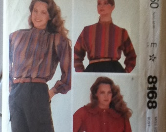 "McCalls Blouse Pattern 8168 Size: 10, Bust 32"", Waist 25"", Hip 34"""