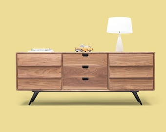 Dresser / cupboard / credenza in solid board oak / walnut, media console, Mid century