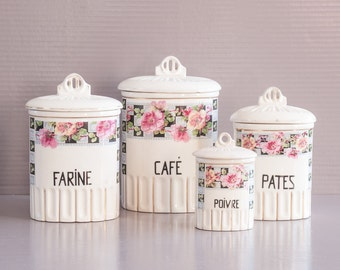 French Kitchen Cannister   Vintage Cannister set   Set of 4 Kitchen Cannisters   French Spice Pots   French Kitchen Jars   French Country