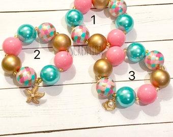 Mermaid bracelet, chunky bracelet, bubblegum bracelet