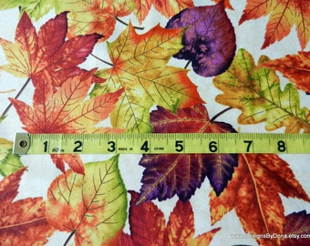 "One Fat Quarter Cut of Quilt Fabric, ""Autumn Album"" Large Fall Leaves by Color Principle for Henry Glass, Sewing-Quilting-Craft Supplies"