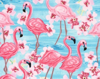 Flamingos in Blue from the Oasis Collection from Timeless Treasures, Flamingos, Hawaiian, Luau Fabric, Tropical Fabric