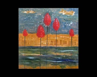 Home Decor Abstract Nature Landscape 12 x 12 24 x 24 Giclee of Copper Painting is a whole new art form Karina Keri-Matuszak Family of Five 5