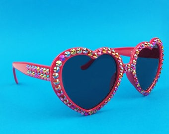 FLAME Red Heart Shaped Sunglasses, Sparkly Sunglasses, Rhinestone Sunglasses, Rockabilly, Pin Up, Fashion Sunglasses, Ladies Sunglasses