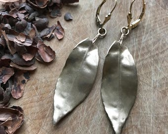 Tea Leaf Earring, Bronze Tea Leaf, Gold Fill Earring, Tea Leaf Charm, Tea Leaf Jewelry