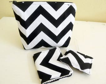 Black and White Hand Sewing Set, Pouch, Needle Case, Pincushion
