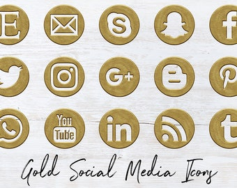 Antique Gold Social Icons Set, Vintage Gold Social Media Icons, 15 PNG Gold Icons, Round Social Media Buttons, Coupon Code: BUY5FOR8