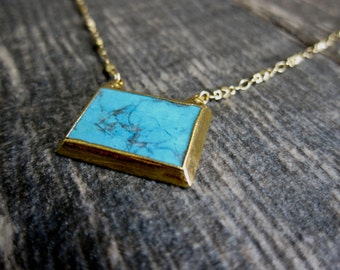 Turquoise Necklace,Turquoise Gold Necklace,Gold Turquoise Necklace,Turquoise Necklace Gold Edged,Everyday Necklace,Gold Edged Turquoise,Boho