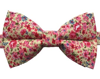Men's Bow Tie, Bow Tie for Men, Pink Floral Adjustable Bow Tie