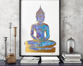 Digital Poster Buddha Blue Purple gold effect 24×36 Buddha Wall Art Watercolor Buddha art Buddha Print Buddha Poster yoga studio watercolour