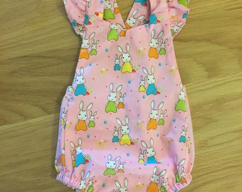 Baby Girls bunny romper /  playsuit / baby bodysuit / bubble romper / baby and toddlers sizing
