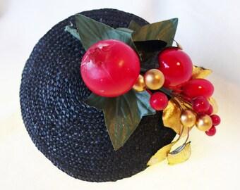Red Gold fascinator burlesque hat wedding bridesmaid ascot races goodwood vintage unique