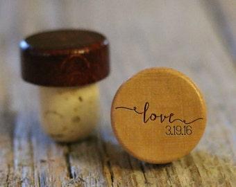 BEST PRICE ** Lot of Personalized Custom Wine Stopper, Laser Engraved Cork Bottle Topper, Reusable Rustic Wedding Favor --WS-L-LoveDate