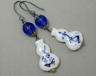Vintage Chinese White Blue Delft Porcelain Vase Bead Earrings,Vintage German Glass Cobalt Blue Bead Dangle ,Handmade Sterling Ear Wires
