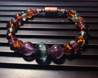 Rainbow Fluorite/ Baltic Amber/ Copper magnetic clasp bracelet.