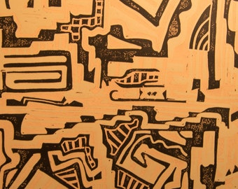 Artifacts III - Original Linocut Modern Contemporary Abstract Maze-like Pre-Columbian