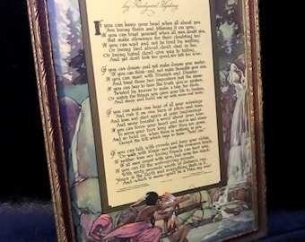 """Framed Buzza Motto Print, 1920s Buzz Motto, """"IF"""" by Rudyard Kipling, Native American, Father Son Poem"""