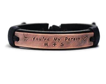 Mens Leather Bracelet, Personalized Bracelet, Custom Bracelet, Hand Stamped Bracelet, Engraved Bracelet leather for Man, customized bracelet