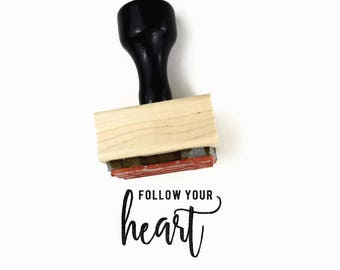 Follow Your Heart Stamp   UPLIFT NOTES Rubber Stamp   Inspirational Quote   Art Journaling Planner   Wood Mounted Stamp