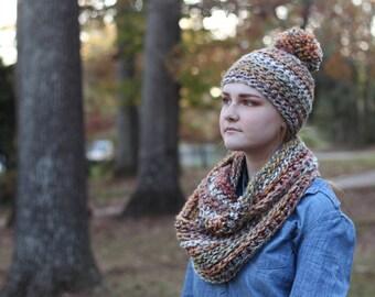 Multicolored Chunky Crochet Wool Infinity Scarf // Chunky Crochet Circle Scarf (Scarf Only)