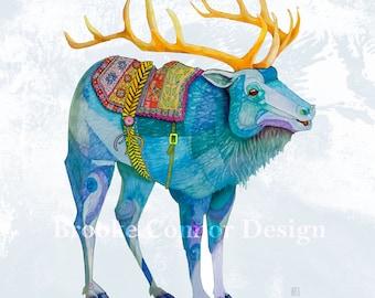 The Blue Elk like a Wapiti Reindeer