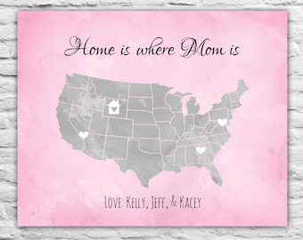 Custom Christmas Gift Long Distance Print Personalized Family Gift Friend, Mom, Sister, Daughter, Son, Best Friend, Aunt, Grandma, Print Map