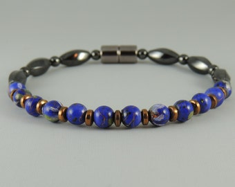 Blue Picasso, Copper, and Magnetic Hematite Bracelet