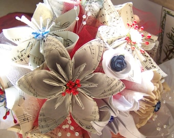 Wedding Bouquet With Military Theme Includes 8 Sheet Music Origami Flowers