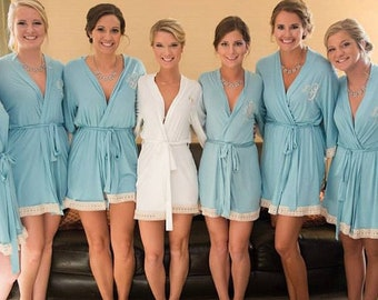 cotton robes for bridesmaids robes for women robes with lace monogram plus size bride long gift for bride bachelorette party